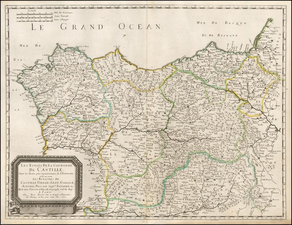 Les Estats de la Couronne de Castille... 1652 By Nicolas Sanson