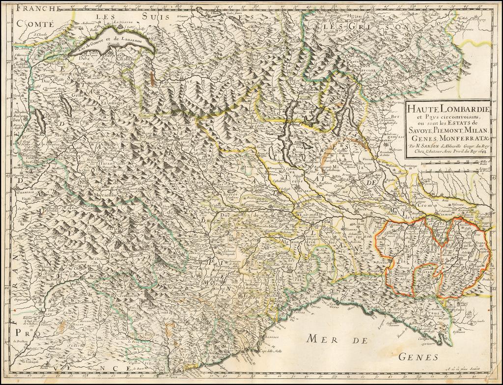 Haute Lombardie et pays circomvoisins... 1648 By Nicolas Sanson