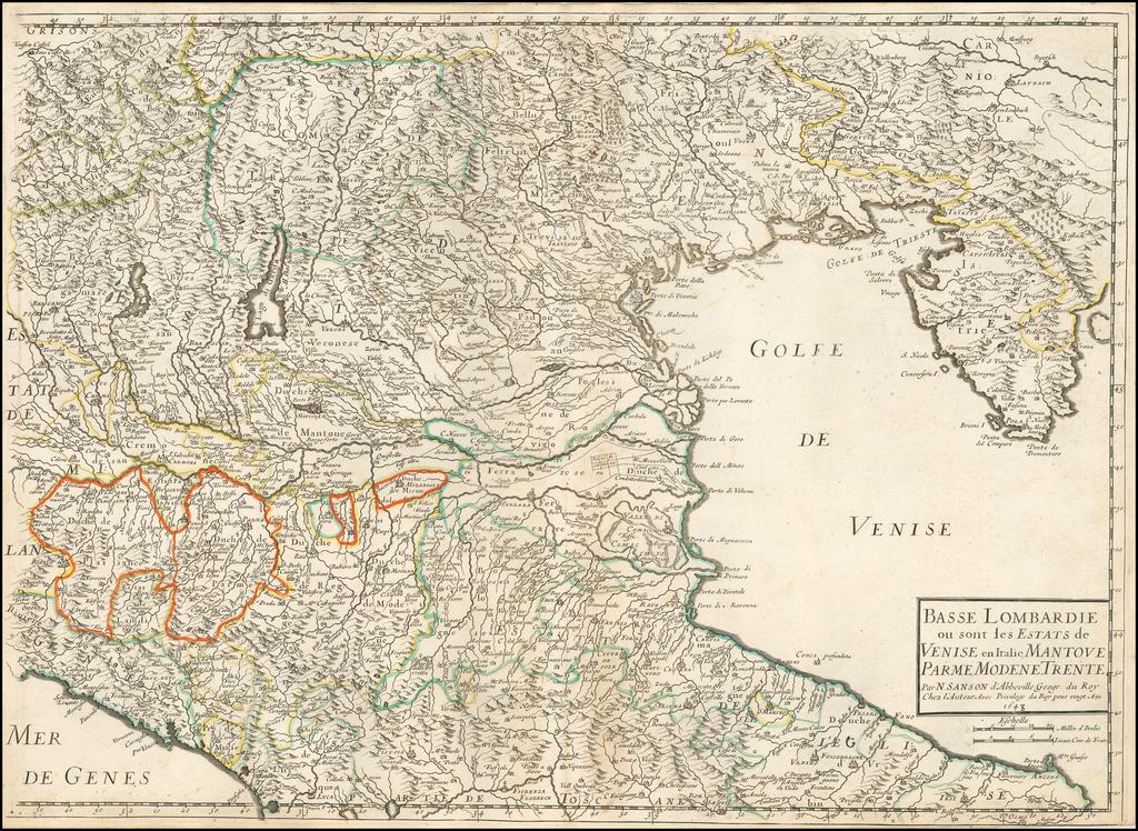 Basse Lombardie ou sont les estats de Venise... 1648 By Nicolas Sanson