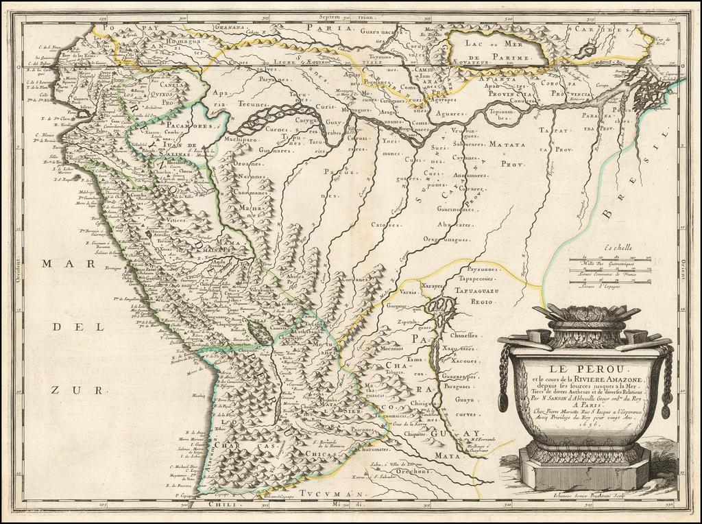 Le Pérou et le cours de la rivière Amazone... 1656 By Nicolas Sanson