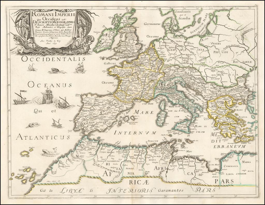 Romani Imperii qua Occidens est descriptio geographica . . . 1637 By Melchior Tavernier / Nicolas Sanson