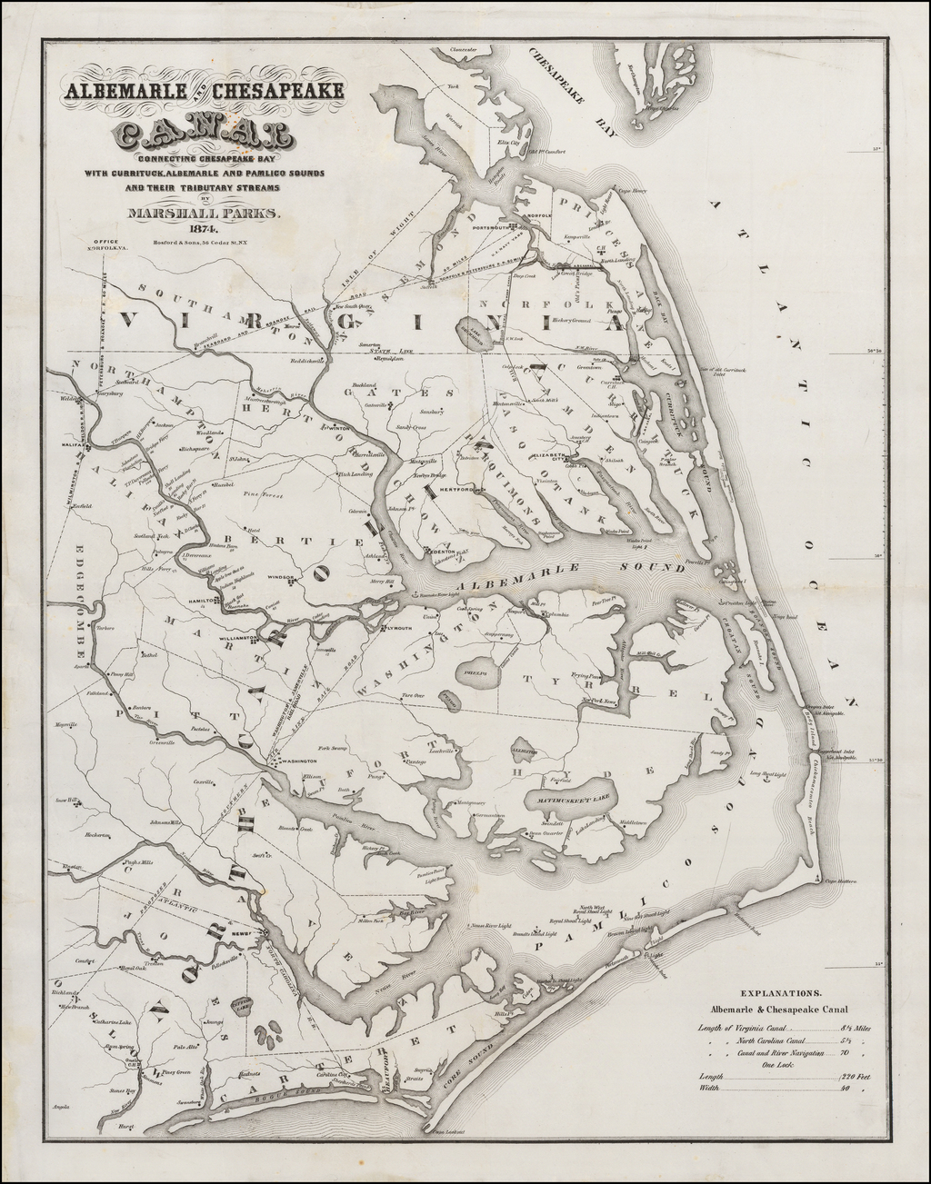 Albemarle and Chesapeake Canal Connecting Chesapeake Bay With Currituck, Albemarle And Pamlico Sounds And Their Tributory Streams  By Marshall Parks.  1874. By Hosford & Sons