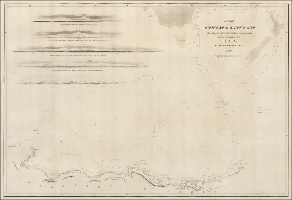 Chart of the Antarctic Continent Shewing the Icy Barrier Attached to it  . . .  1840 By Charles Wilkes