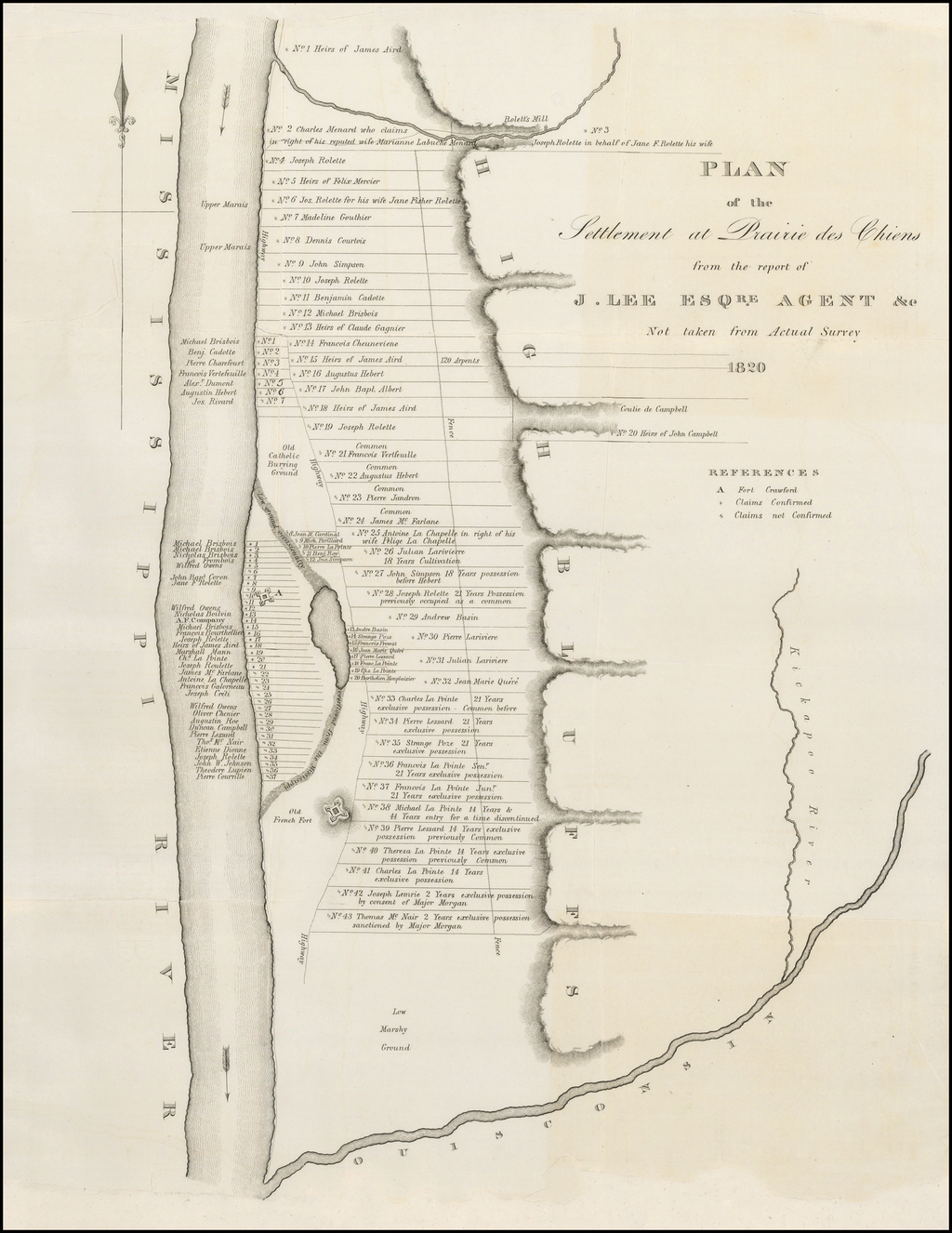 Plan of the Settlement at Prairie des Chiens from the Report of J. Lee Esqre. Agent &c. Not taken from Actual Survey 1820 By Bowen & Co.