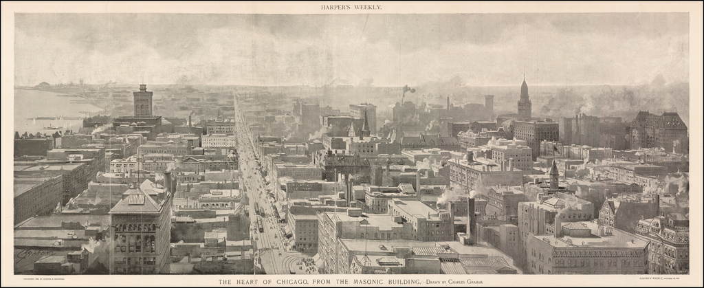 The Heart of Chicago, From the Masonic Building.  Drawn by Charles Graham  By Harper's Weekly