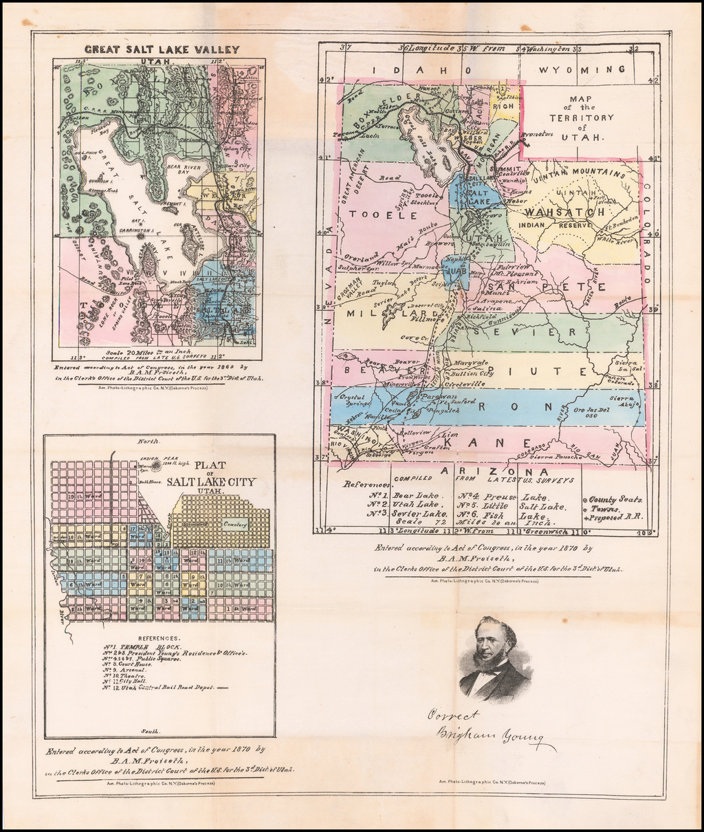 Map of the Territory of Utah [with] Great Salt Lake Valley