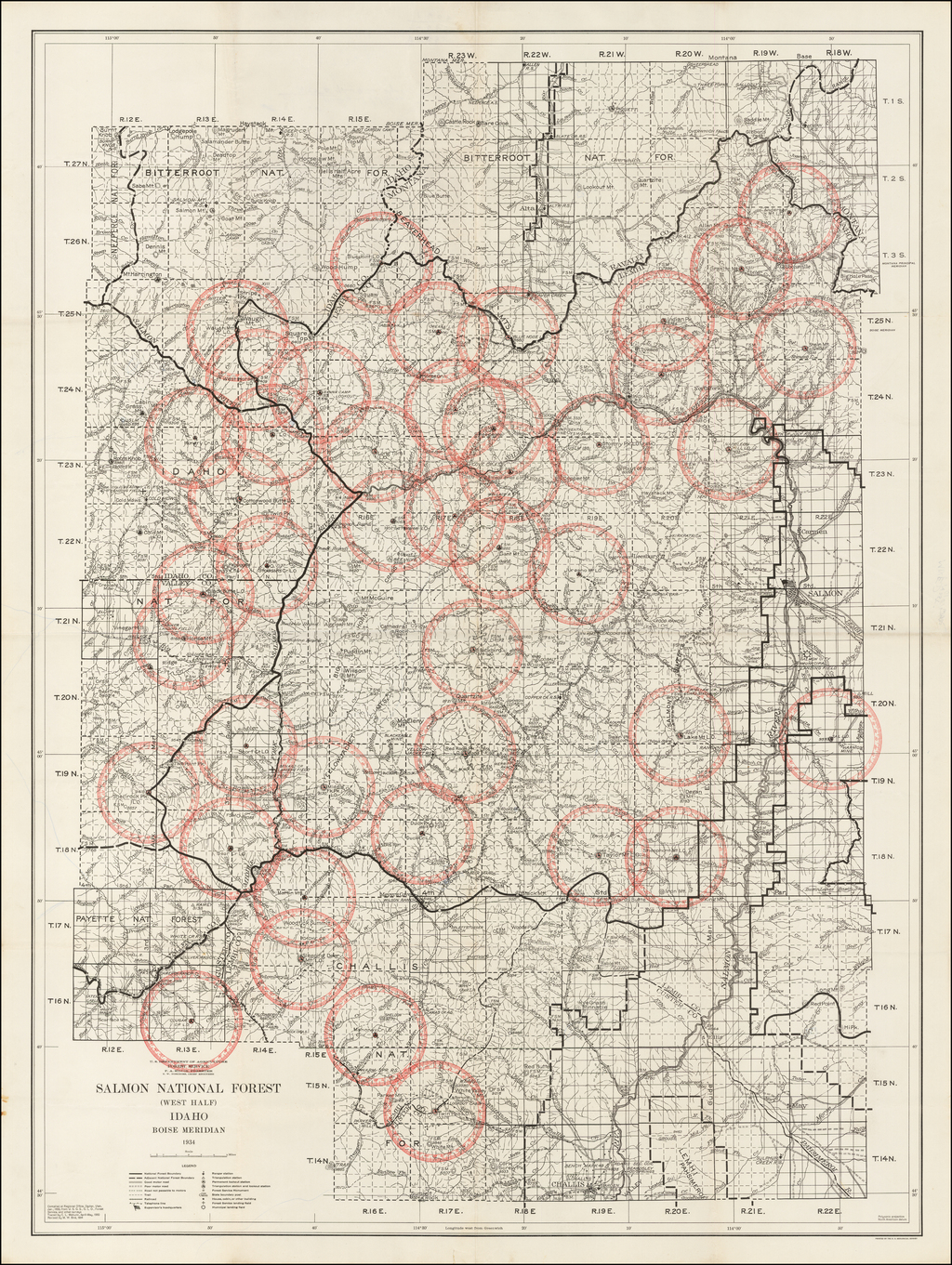 Salmon National Forest (West Half) Idaho . . . 1934 By U.S. Department of Agriculture
