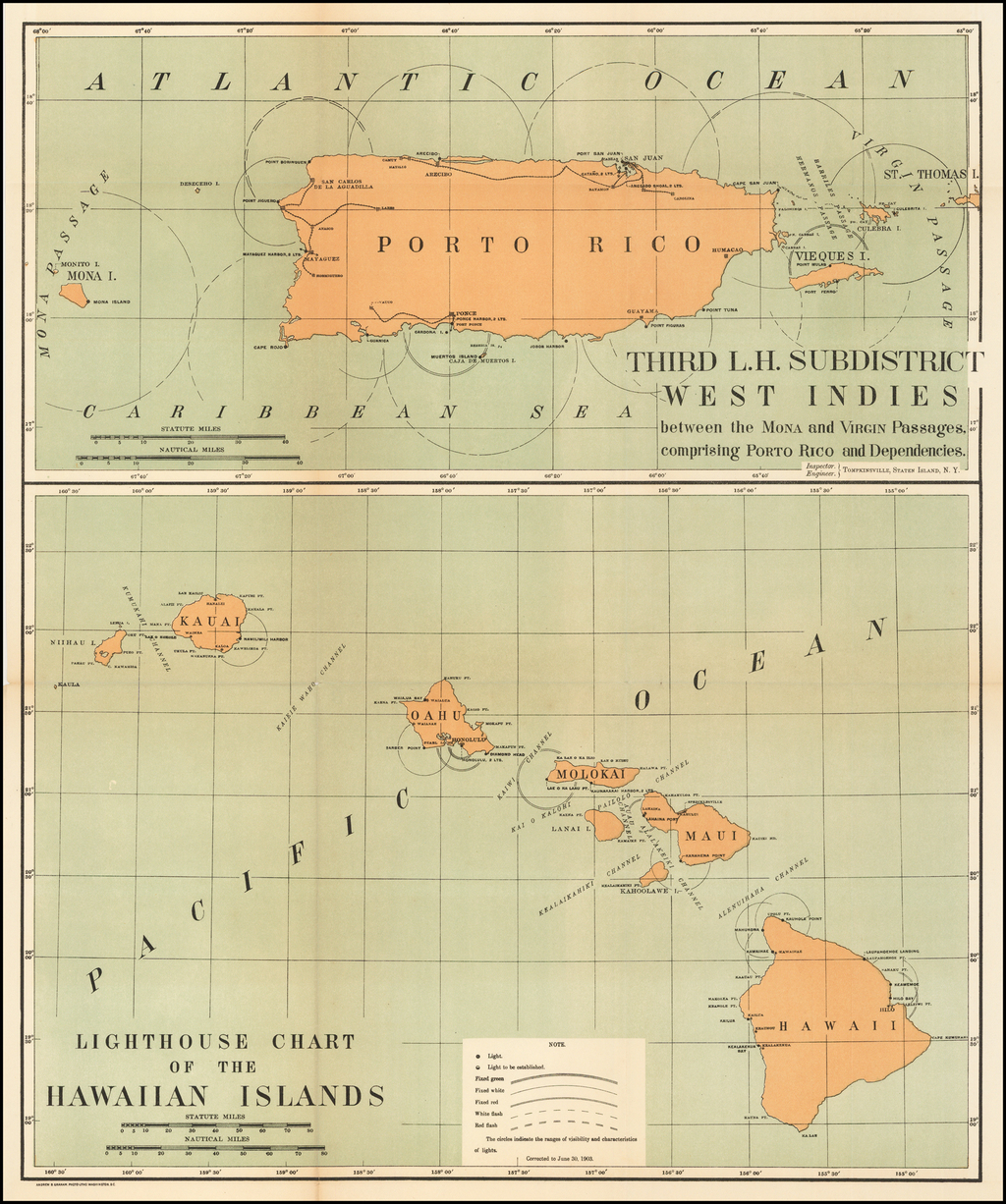 (Hawaii & Puerto Rico)  Lighthouse Chart of the Hawaiian Islands (and) Third L.H. District West Indies between Mona and Virgin Passages, comprising Porto Rico and Dependencies. By Andrew B. Graham