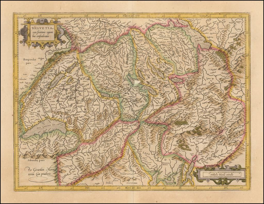 Helvetia cum finitimis regionibus confoederatis  By  Gerard Mercator