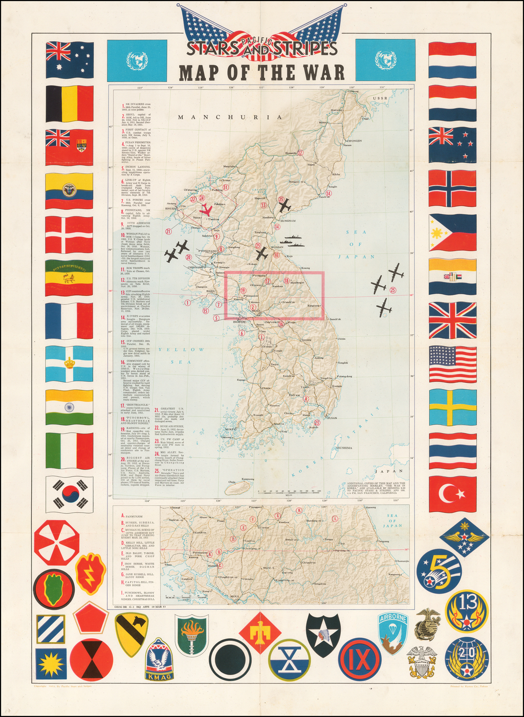 (Korea)  Stars & Stripes Map of The War By Pacific Stars & Stripes
