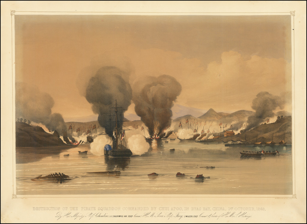 (Hong Kong)  Destruction of the Pirate Squadron Commanded By Chui Apoo, In The Byas Bay, China 1st October, 1849.  By His Majesty's Sloop Columbine.   J. C. Dalrymple Hay, Esqr.  Commr. H. M. Steam Sloop Fury, J. Willcox, Esqr., Commr. & boats of H.M. Hastings. By Edward Hodges Cree