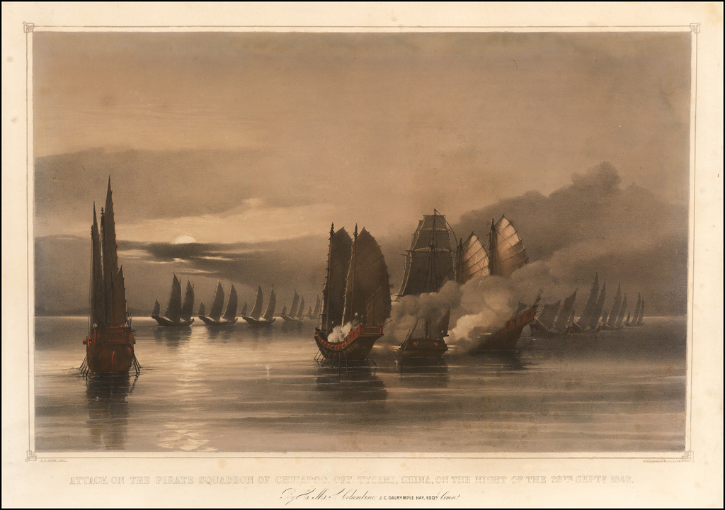 (Hong Kong)  Attack on the Pirate Squadron of Chuiapoo, Off Tysami, China, on the night of the 28th of Septr, 1849.  By H. M. S. Columbine.   J. C. Dalrymple Hay, Esqr.    By Edward Hodges Cree