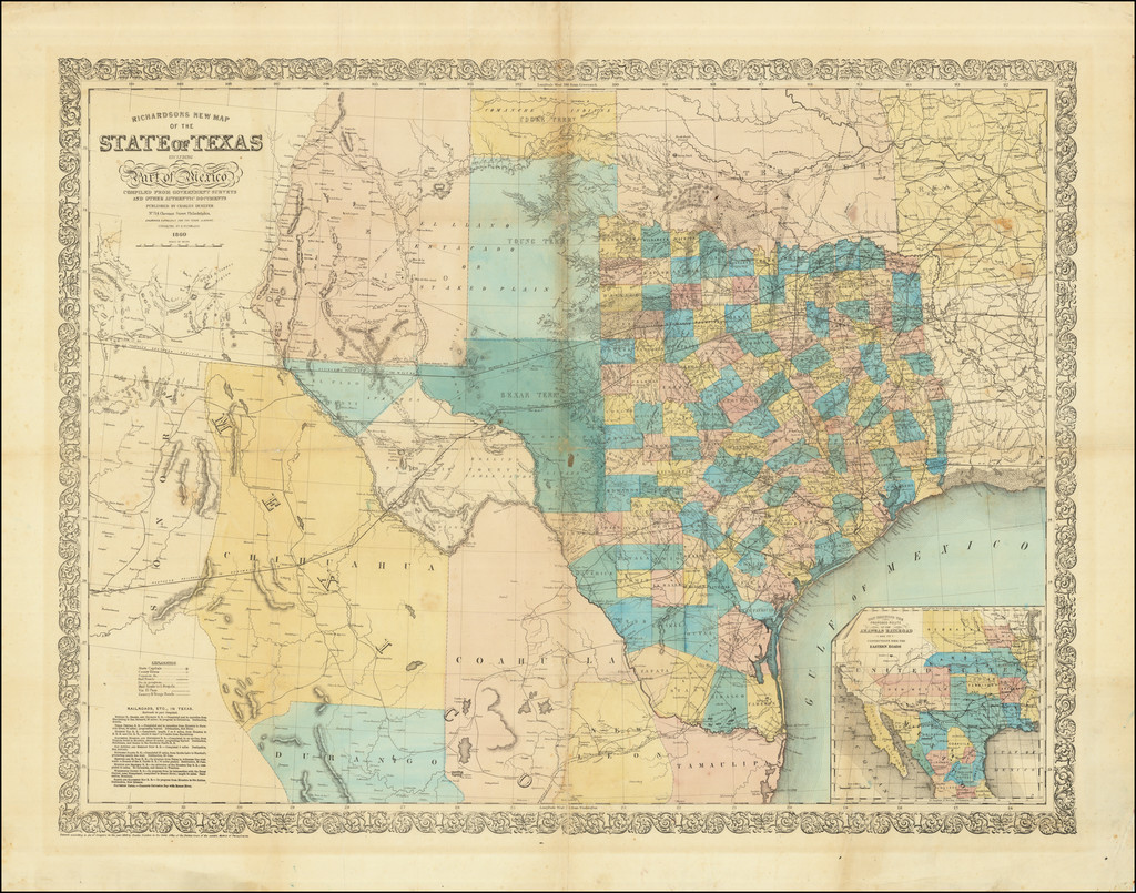 Richardson's New Map of the State of Texas Including Part of Mexico Compiled From Government Surveys and Other Authentic Documents . . . 1860 By Willard Richardson