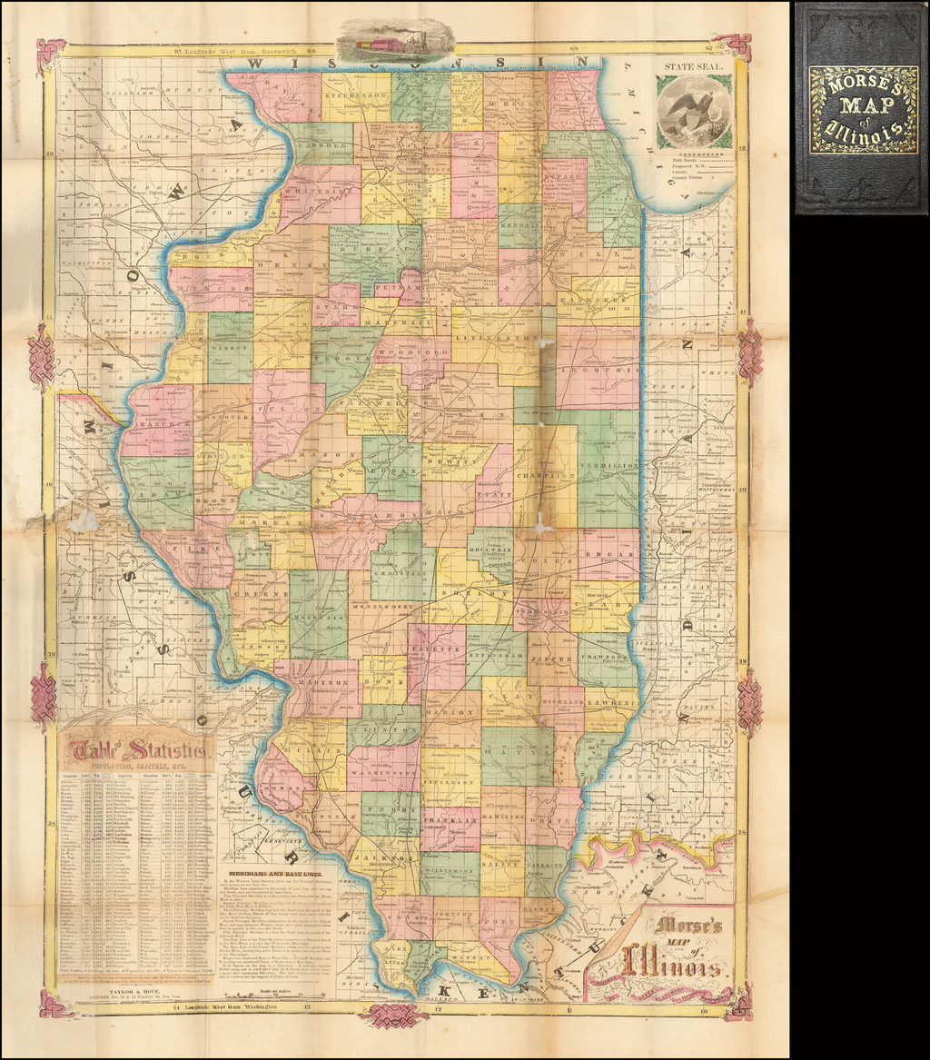 Morse's Map of Illinois By Rufus Blanchard