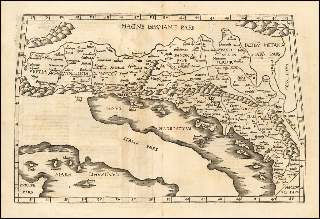(Adriatic & Balkans - Title on Verso)  Tabula V Europae By Lorenz Fries