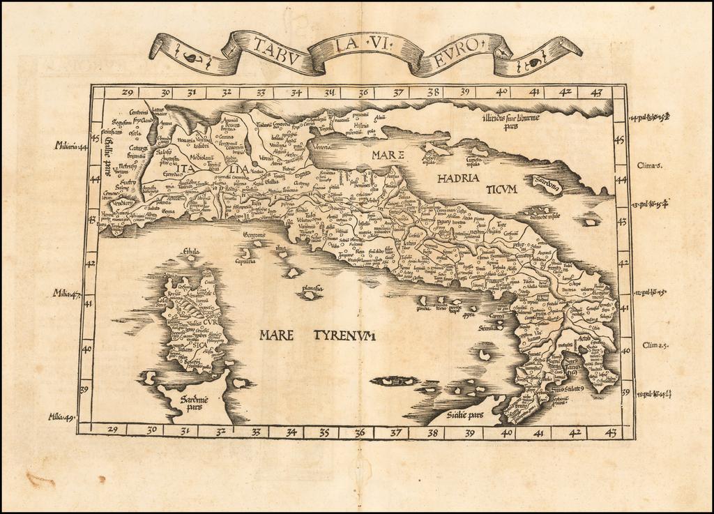 (Italy & Corsica) Tabula VI Europae  By Lorenz Fries