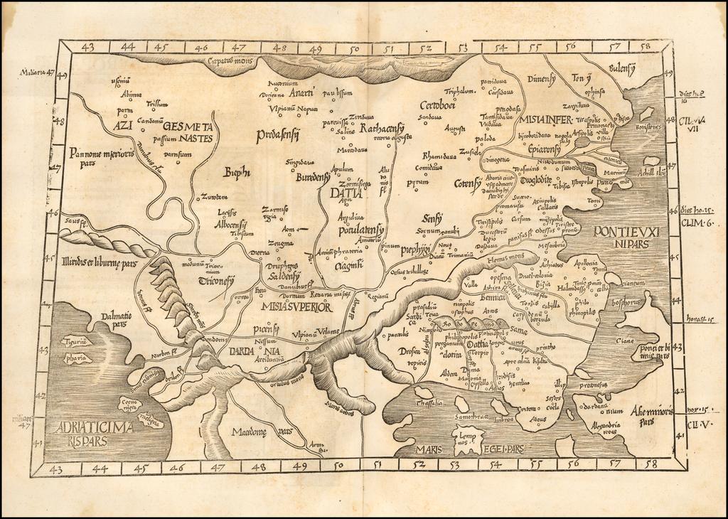 (Balkans, Romania, Greece)  (Tabula IX Europae - Title on Verso) By Lorenz Fries