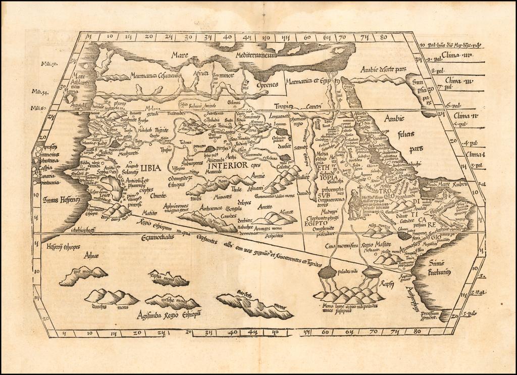 [Africa] Tabula IIII.  Aphricae. Hae Sunt E Cognitis Totius Orbis . . . (title on verso) By Lorenz Fries
