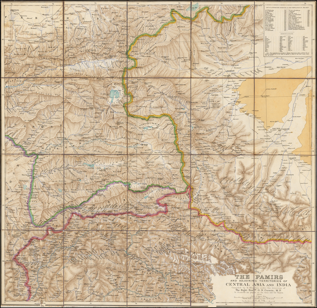 The Pamirs and Adjoining Territories of Central Asia and India Compiled by H. Sharbau, under the direction of The Right Honble. G.N. Curzon M.P. To illustrate his paper on the Oxus and the Pamirs.  1896 By Royal Geographical Society