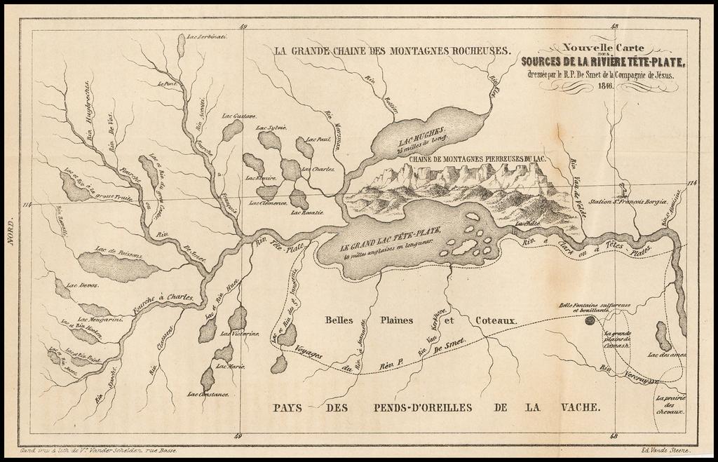 (Flathead Lake / Clark Fork)  Nouvelle Carte Des Sources De La Riviere Tete-Plate, dressee par le R.P. De Smet de la Compagnie de Jesus. 1846 By Pierre De Smet