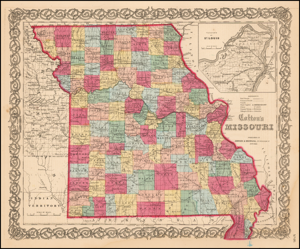 Colton's Missouri By Joseph Hutchins Colton