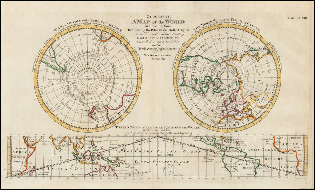 A New Map of the World in Three Sections Describing the Polar Regions to the Tropics In which are traced the Tracts of Lord Mulgrave and Captain Cook Towards the North and South Poles and the Torrid Zone or Tropical Regions with the New Discoveries in the North Sea By William Barker