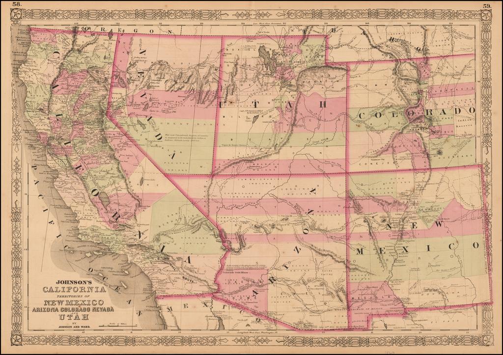 Johnson's California, Territories of New Mexico, Arizona, Colorado, Nevada and Utah By Benjamin P Ward  &  Alvin Jewett Johnson