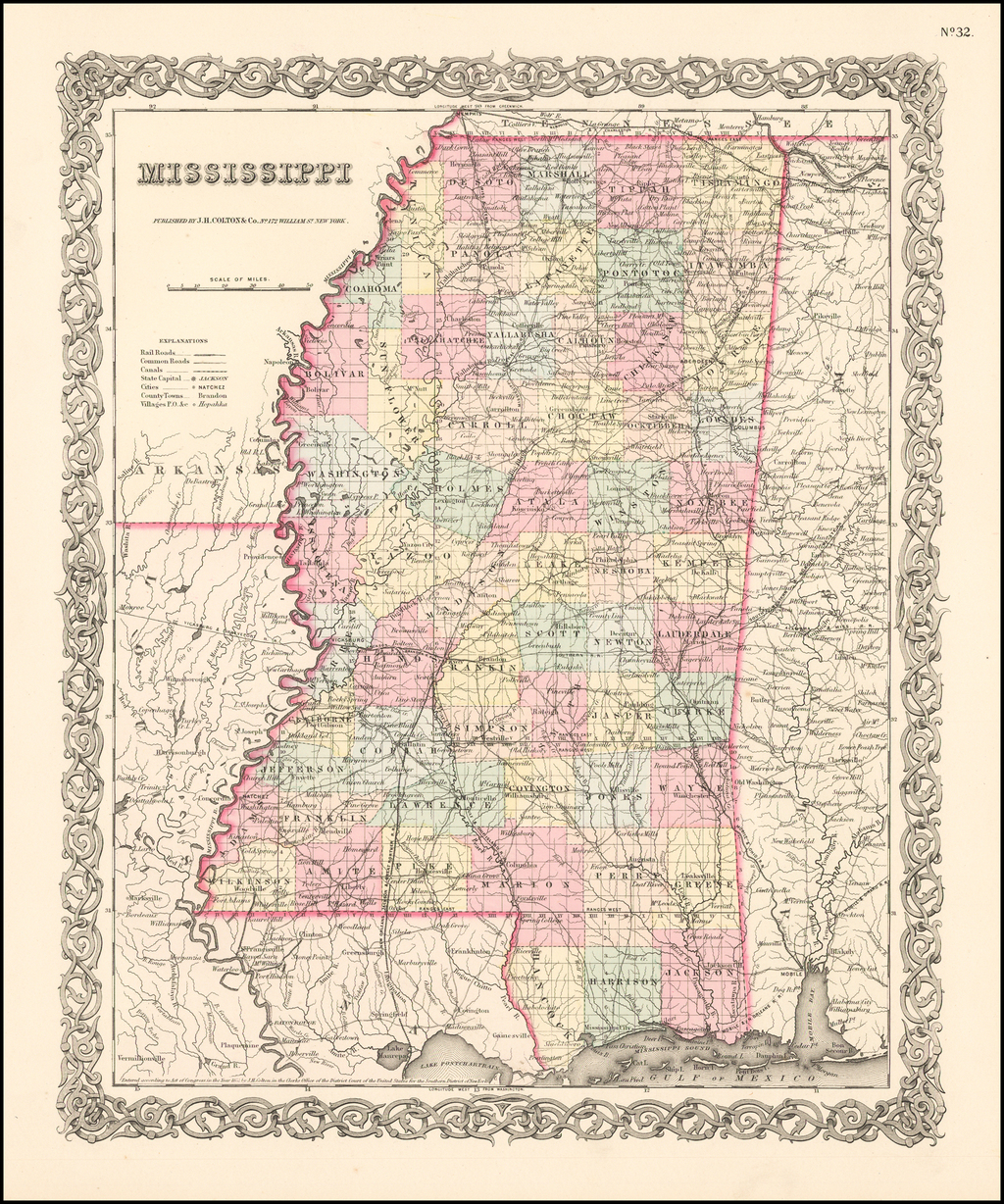 Mississippi By Joseph Hutchins Colton