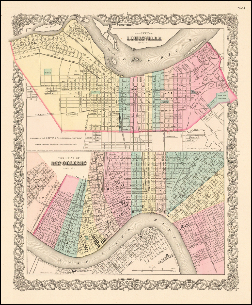 Colton's The City of Louisville [with] Colton's The City of New Orleans By Joseph Hutchins Colton