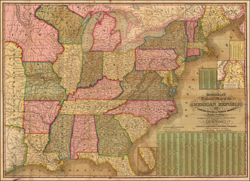 Mitchell's National Map of the American Republic or United States Of North America . . . 1844 By Samuel Augustus Mitchell