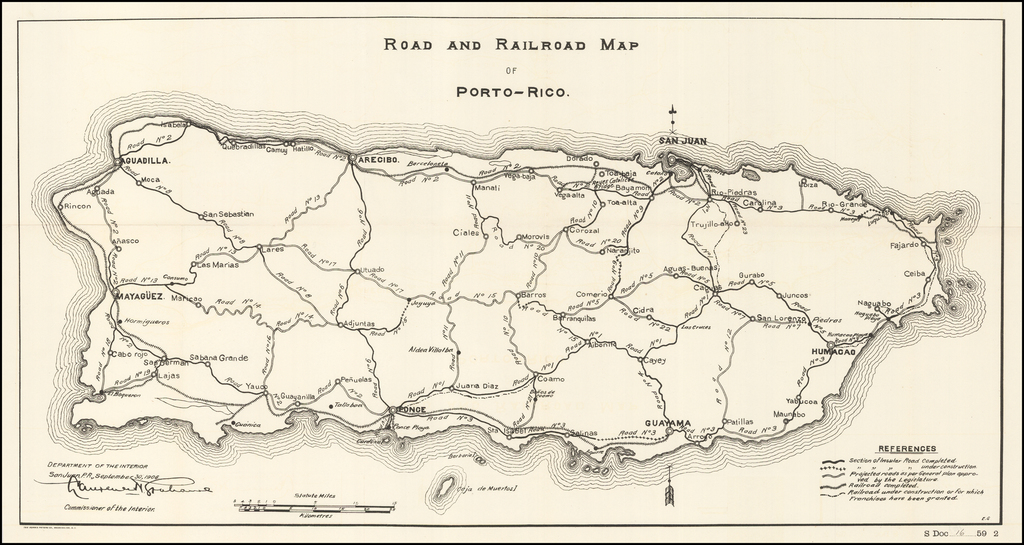 Road and Railroad Map of Porto-Rico By United States Department of the Interior