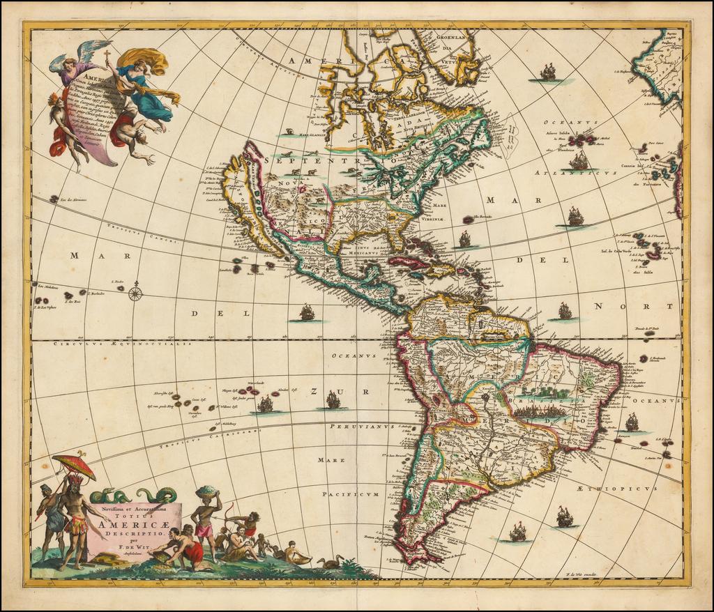 Novissima et Accuratissima Totius Americae Descriptio per F. De Wit By Frederick De Wit