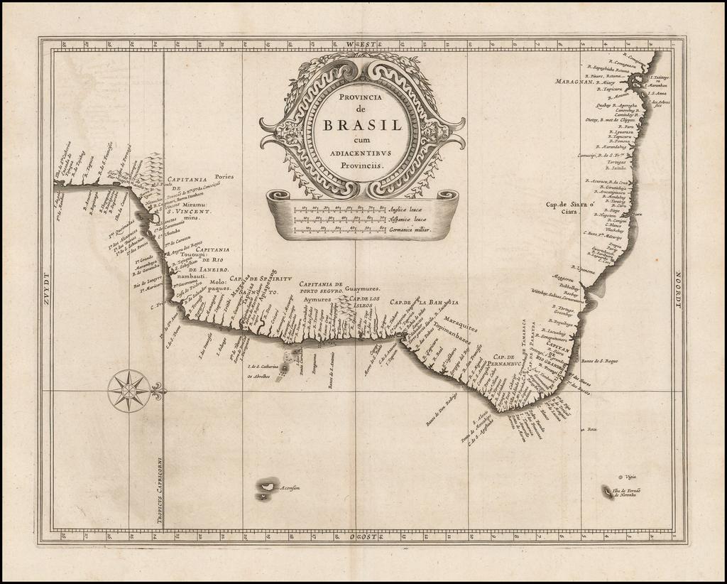 Provincia de Brasil cum Adiacentibus Provinciis By Joannes De Laet