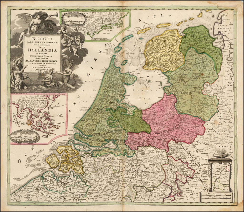 Belgii Pars Septentrionalis communi nomine Vulgo Hollandia…[Inset Views of New Amsterdam (New York City) & Batavia and Maps of NE United States and SE Asia] By Johann Baptist Homann
