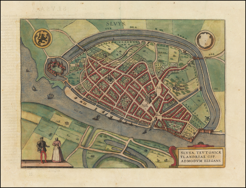 Slusa, Teutonicae Flandriae Opp. Admodum Elegans By Georg Braun  &  Frans Hogenberg