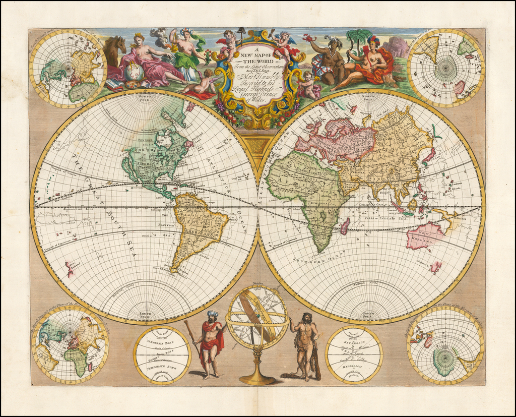 A New Map of The World From The Latest Observations…Most Humbly Inscribed to his Royal Highness George Prince of Wales By John Senex