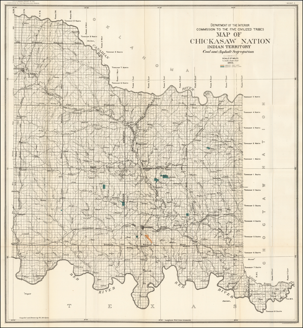 Map of Chickasaw Nation, Indian Territory, Coal and Asphalt Segregation, 1903.  By United States Department of the Interior