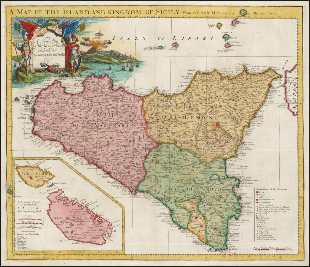 A Map of the Island and Kingdom of Sicily from the Latest Observations  [Malta Inset] By John Senex