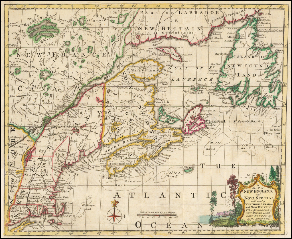 Map Of Canada New York Border.A Map Of New England And Nova Scotia With Part Of Canada New York