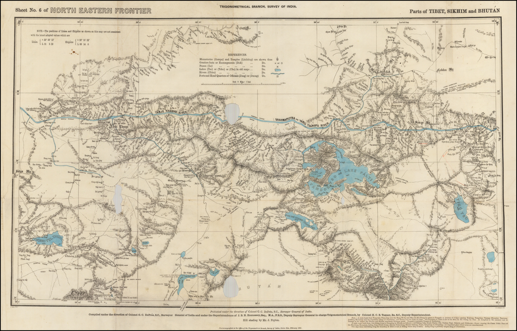 Sheet No. 6 of North Eastern Frontier -- Parts of Tibet, Sikhim and Bhutan By Surveyor General of India