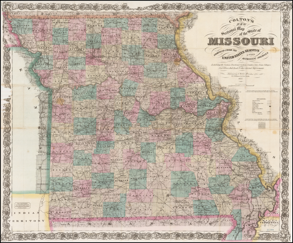 Colton's New Sectional Map of the State of Missouri Compiled From The United States Surveys & Other Authentic Sources . . . 1872 By G.W.  & C.B. Colton