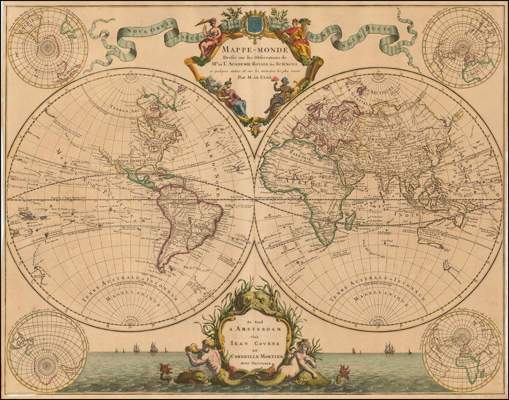Mappe-Monde Dresse sur les Observations de Mrs de l'Academie ... on