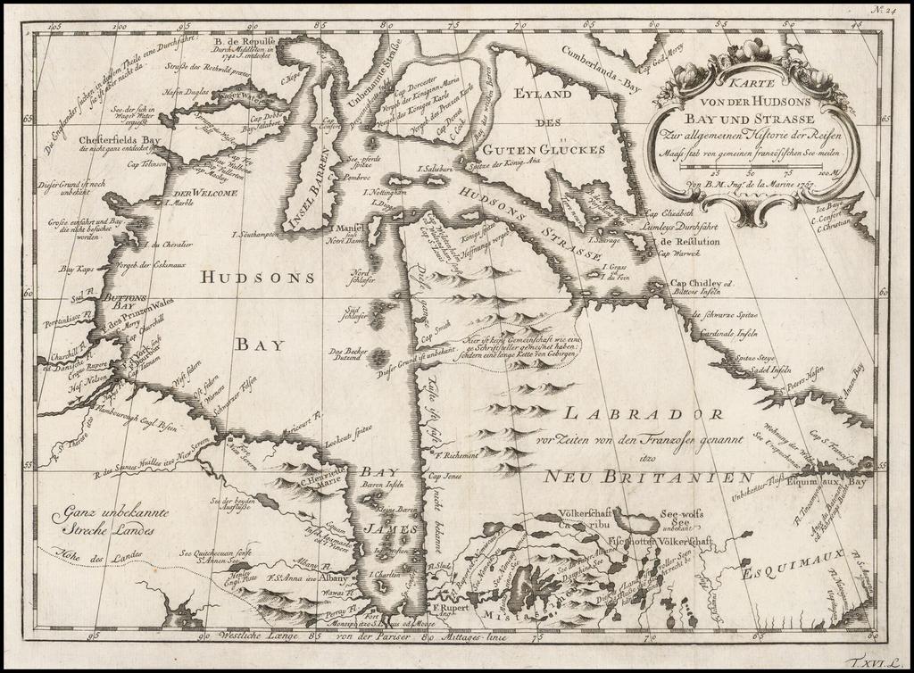 Karte von der Hudsons Bay und Strasse Zur allgemeinin Historie Reisen . . . 1757 By Jacques Nicolas Bellin