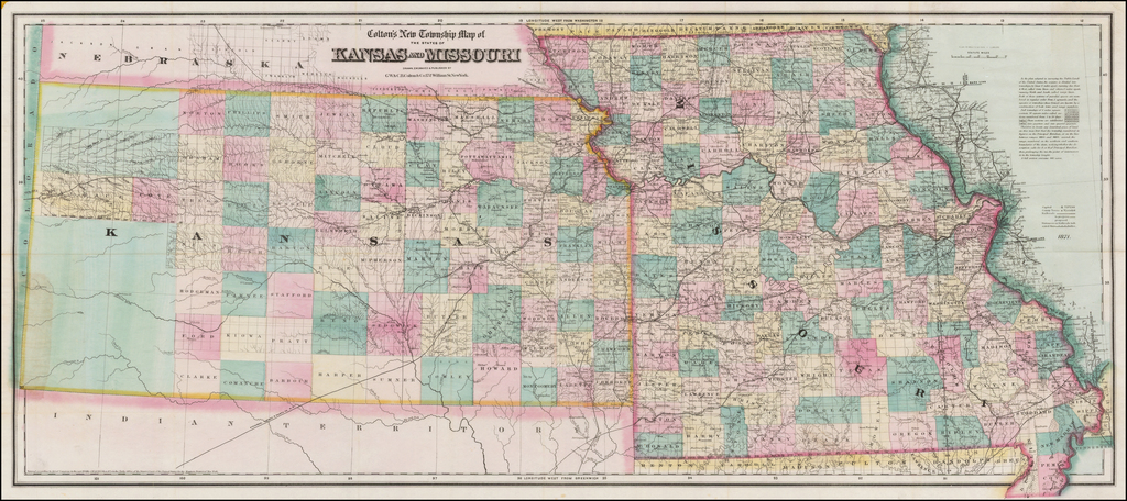 Colton's New Township Map of the states of Kansas and Missouri . . .  By G.W.  & C.B. Colton