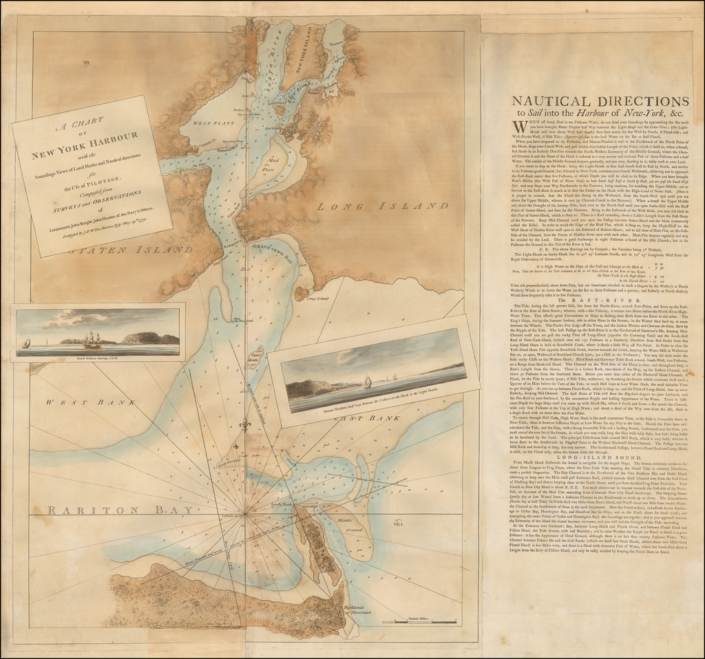 A Chart of New York Harbour with the Soundings Views of Land Marks and Nautical directions for the Use of Pilotage. Composed from Surveys and Observations of Lieutenants Johyn Knight, John Huntar of the Navy & Others . . . 1779  (with Sailing Directions Sheet!) By Joseph Frederick Wallet Des Barres