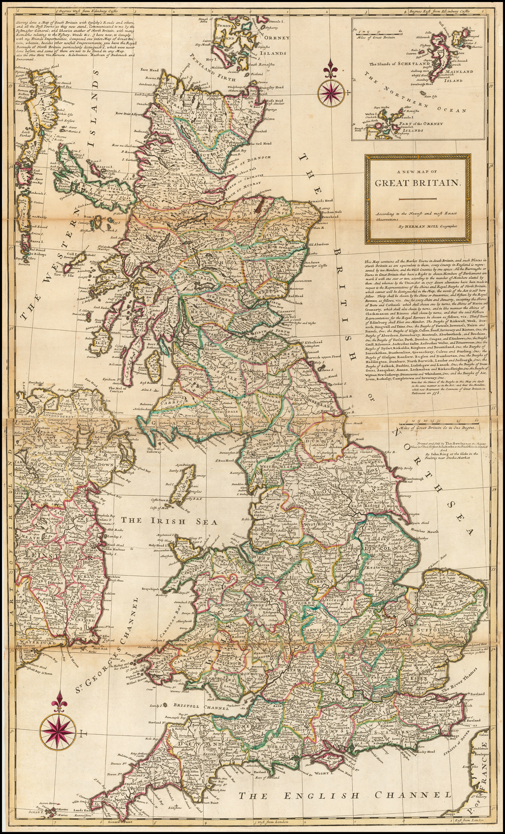 A New Map of Great Britain -- According to the Newest and most Exact Observations By Herman Moll
