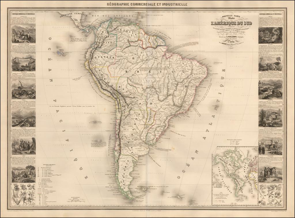 Nouvelle Carte Illustree De L'Amerique Du Sud Indiquant Les Grandes Divisions Physiques, La Distribution Geographique Des Vegetaux Et Mineraux . . . 1857 By Alexandre Vuillemin