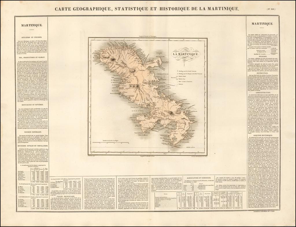 Carte Geographique, Statistique et Historique De La Martinique By Jean Alexandre Buchon