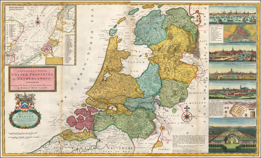 A New and Exact Map of the United Provinces, or Netherlands, &c  By Herman Moll