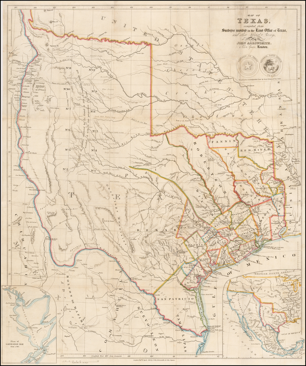 Map Of Texas 1840.A Map Of Texas Compiled From Surveys Recorded In The Land Office Of